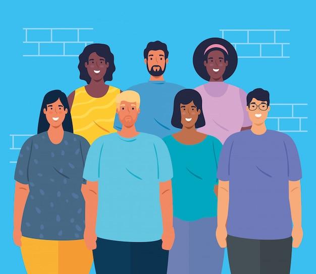 一緒に人々、女性と男性の多様性と多文化主義の概念の多民族グループ