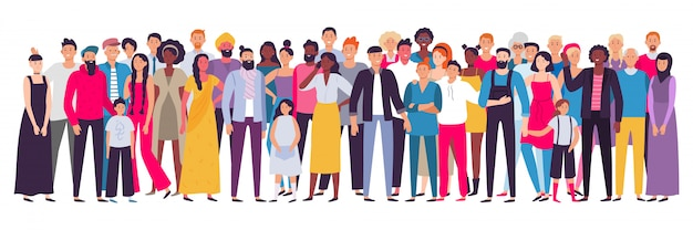 Multiethnic group of people. society, multicultural community portrait and citizens. young, adult and elder people  illustration