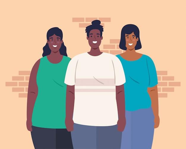 多民族のグループの人々が一緒に、文化的および多様性の概念