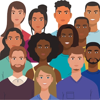 Multiethnic group of people together, diversity and multiculturalism concept.