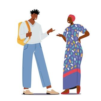 多民族の人々現代の服を着たアフリカ人の男性と伝統的なドレスとターバンの話をしている女性。カップルのおしゃべり