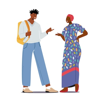 Multiethnic people african man in modern clothes and woman in traditional dress and turban talking. chatting couple