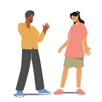 多民族の人々インド人またはパキスタン人の男性と白人女性が話したり話したりします。多民族のカップルのチャット、男性と女性のキャラクター間の対話、会議。漫画のベクトル図