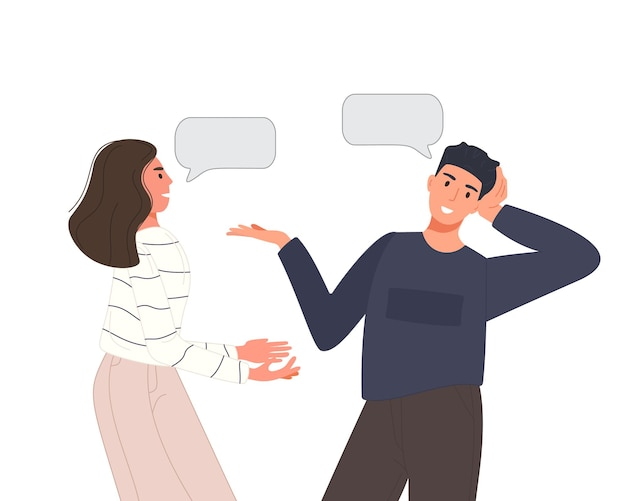 Multiethnic people talking or discuss social network. two friend men and women speaking couples with speech bubbles. character dialogue concept.