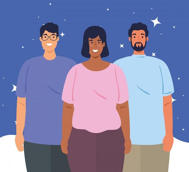 多民族の人々が一緒に、女性と男性、多様性と多文化主義の概念