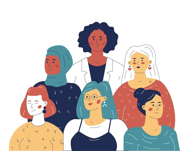 Multiethnic team of women leaders, the concept of equality in business. an illustration for a website or application.