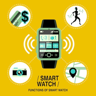 Multifunction smart watch in flat design style