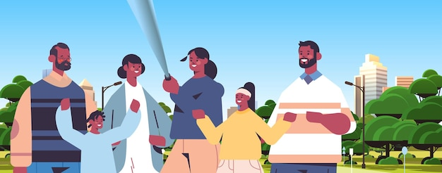 Multigenerational family using selfie stick and taking photo on smartphone camera african american people walking outdoor cityscape background horizontal portrait vector illustration