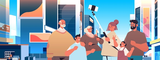 Multigenerational family using selfie stick and taking photo on smartphone camera people walking outdoor cityscape background horizontal portrait vector illustration