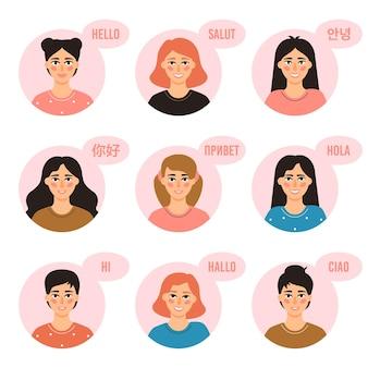 Многоязычные девушки. молодые женщины передают привет на разных языках, приветствуя дружелюбных девушек из разных культур, векторные иллюстрации набор иконок