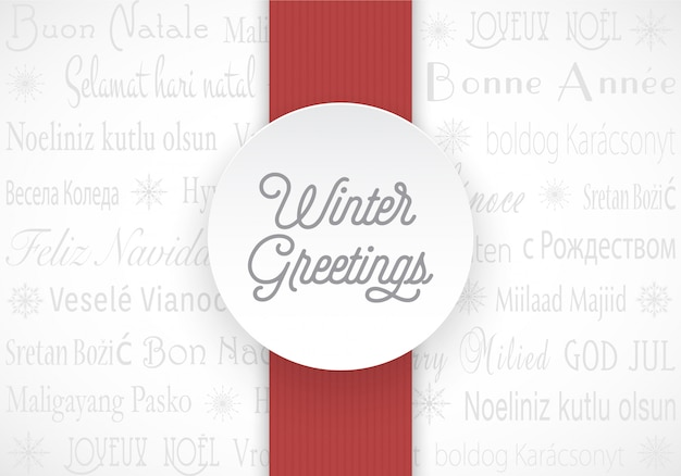 Multilingual winter greetings vector card