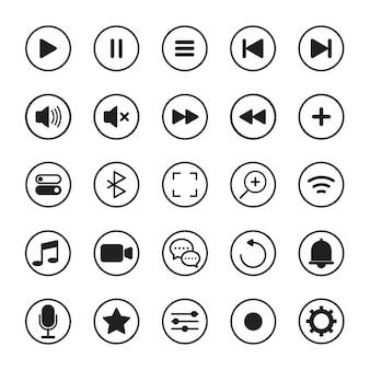 멀티미디어 버튼 플레이어 아이콘 모음 검은 선 흰색 배경에 고립