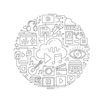 Multimedia concept in thin flat illustration