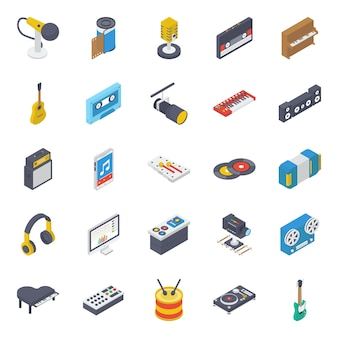 Multimedia device isometric icons pack