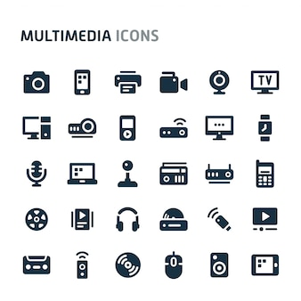 Multimedia icon set. fillio black icon series.