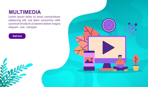 Multimedia illustration concept with character. landing page template