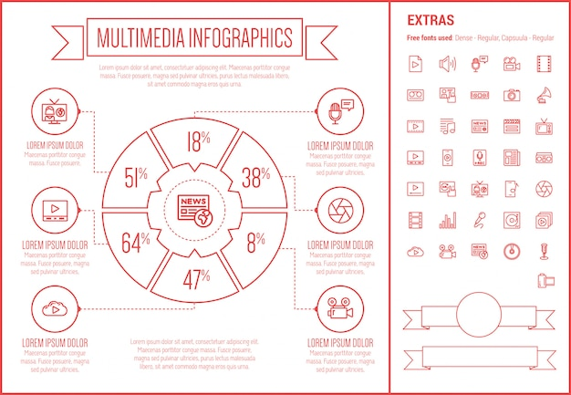 Multimedia line design infographic template