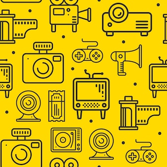Multimedia line icons seamless pattern.