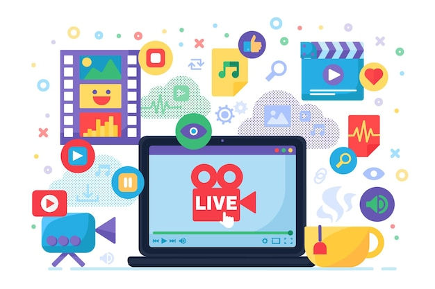 Multimedia live stream production idea concept icon. creating news content for online broadcasting flat illustration. modern cover design. vector isolated color drawing