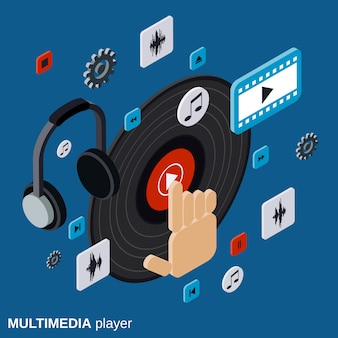 Multimedia player flat isometric vector concept illustration