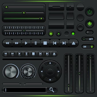 Multimedia player graphic user interface elements collection