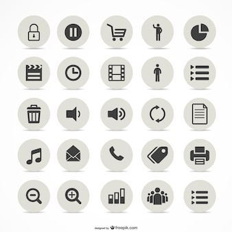Multimedia simple icons set Premium Vector