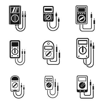 Multimeter digital icons set