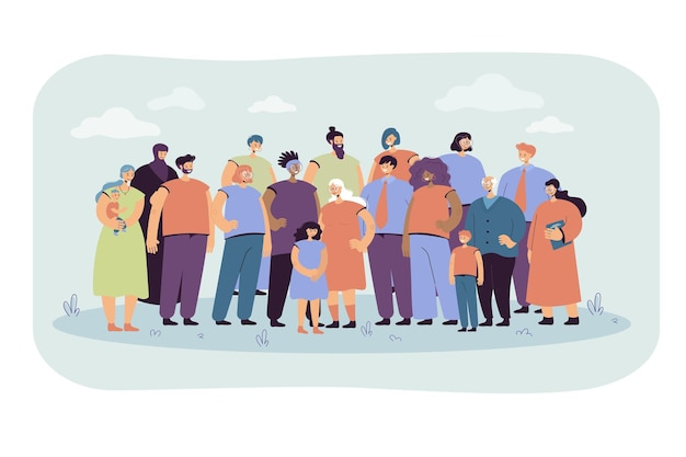 Multinational crowd of people standing together flat illustration. portrait of cartoon diverse young and old men, women and kids