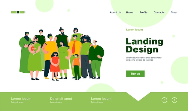 Multinational crowd of people standing together landing page in flat style