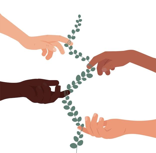 Многонациональная дружба, равенство, единство, разные руки, спасают землю, плоскую иллюстрацию