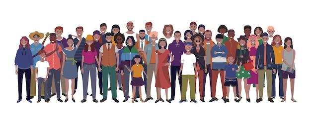 白い背景の上の人々の多国籍グループ。子供、大人、ティーンエイジャーが一緒に立っています。図
