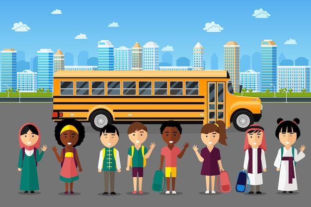 Многонациональные дети ходят в школу. арабский японский китайский группа, счастливая улыбка детства, векторные иллюстрации