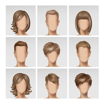 Multinational male female face avatar profile heads hairs icon set