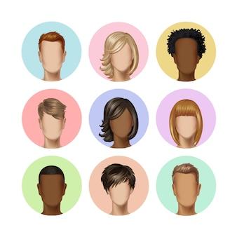 背景に色とりどりの髪アイコン画像セットを持つ多国籍男性女性の顔アバタープロフィールヘッド