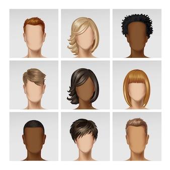 Multinational male female face avatar profile heads