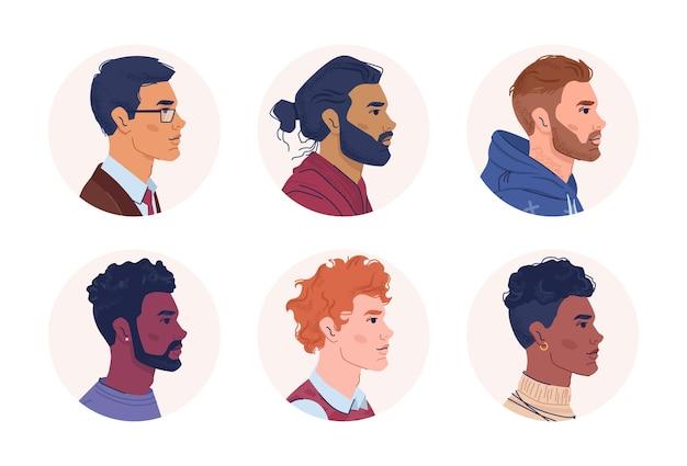 男性の肖像画の多国籍人の多様性