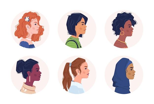 Многонациональные люди разнообразие женского портрета