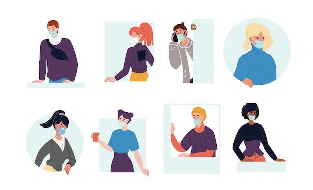 呼吸マスクセットを着ている多国籍の人々