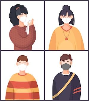 Multinational women and man wearing face medical masks