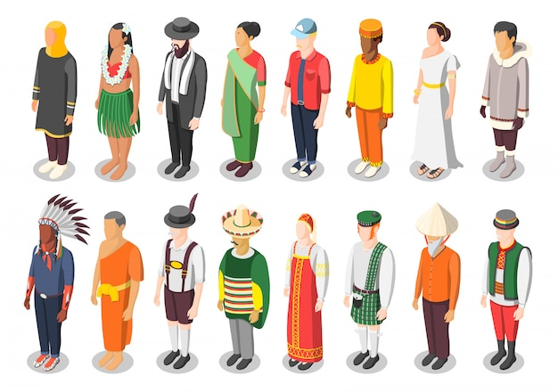 Multinational world culture isometric characters