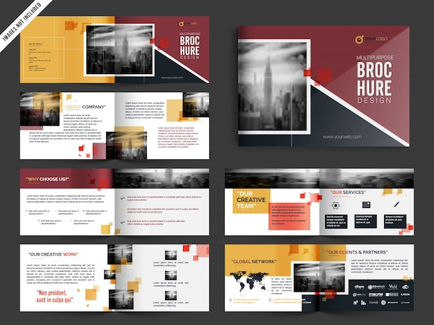 Multipage brochure, leaflet design pack in yellow and red color