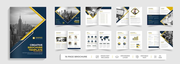 Multipage modern corporate creative 16 page business brochure template with yellow and black abstract shape and minimal company profile