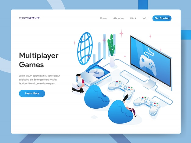 Multiplayer games isometric illustration for website page