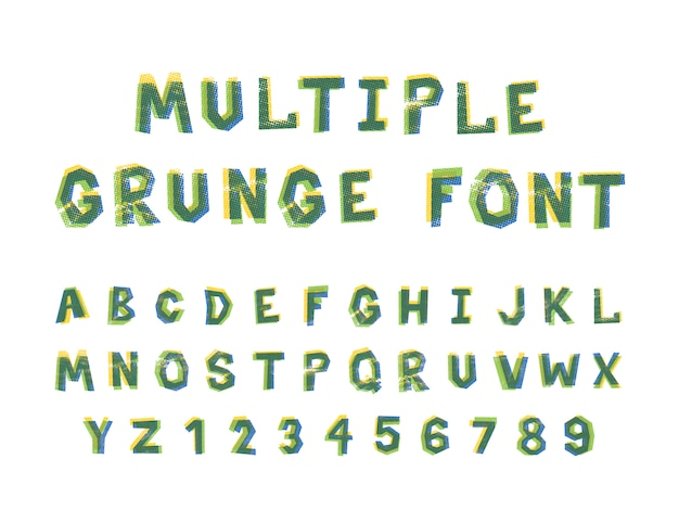 Multiple bright colors grunge font alphabet isolated