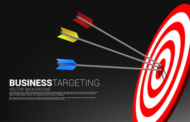 Multiple color archery hit on the center of dartboard . business concept of marketing target and customer. company vision mission and goal.