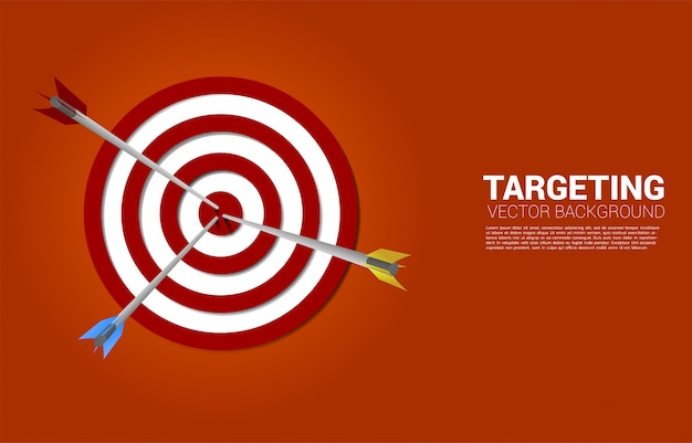 Multiple color archery hit on the center of dartboard . business concept of marketing target and customer.company vision mission and goal.