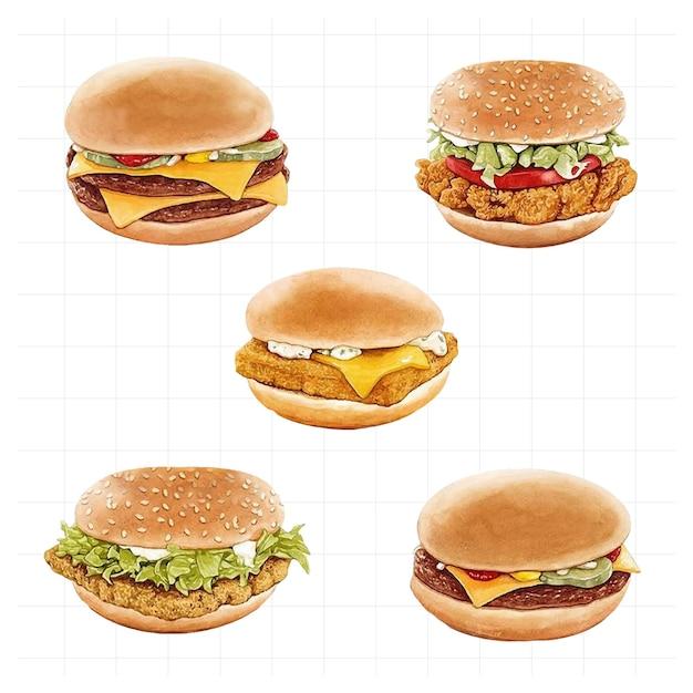 수채화로 그린 여러 햄버거