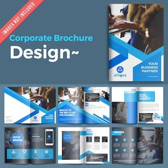 Multiple page blue leaflet set for your business promotions.