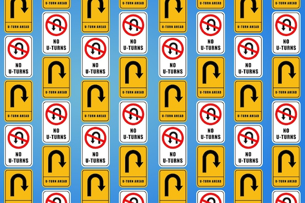 Multiple road sign board in different shapes wallpaper illustration