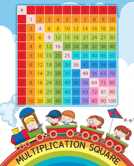 Multiplication square with rainbow and children on train